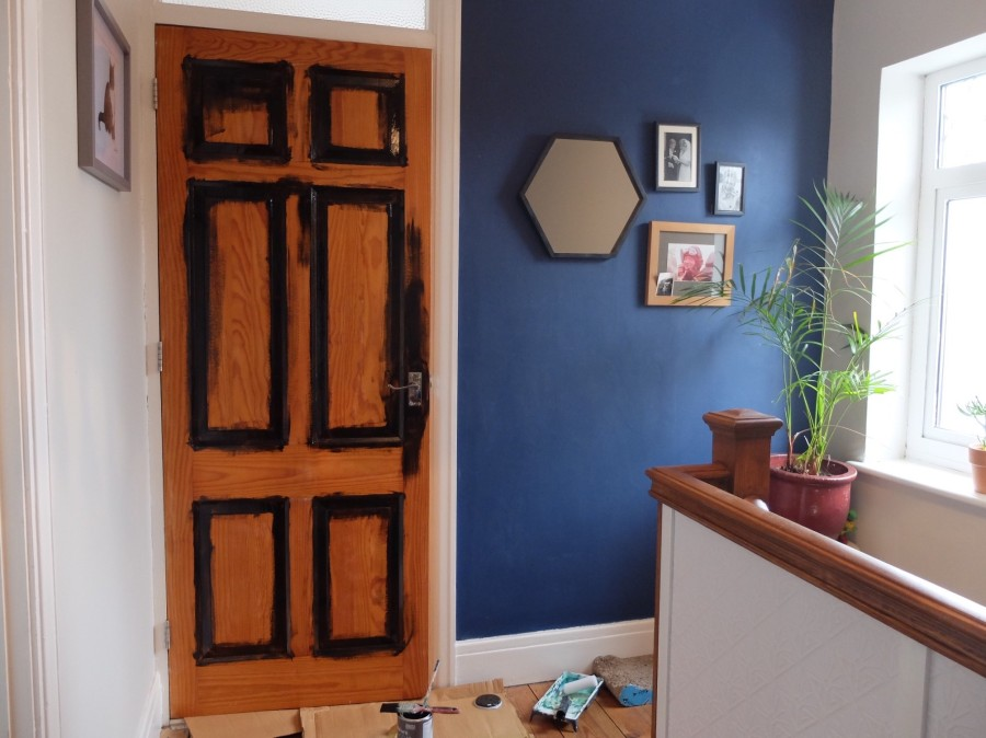 painting pine doors black